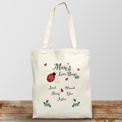 Love Bugs Personalized Canvas Tote Bag
