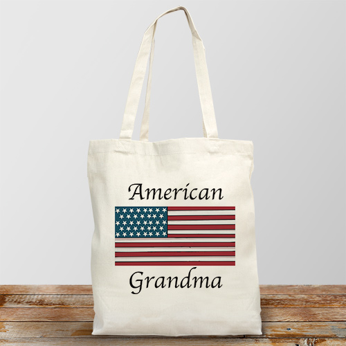 American Flag Personalized Photo Tote Bag