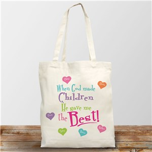 God Gave Me the Best Personalized Canvas Tote Bag | Grandma Gifts