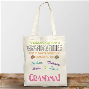 Anybody Can Be A Grandma Personalized Canvas Tote Bag
