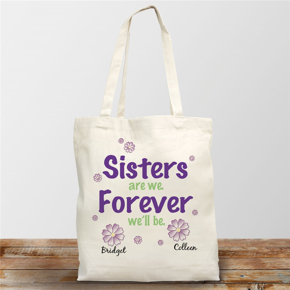 Sisters Forever Personalized Canvas Tote Bag | Personalized Sister Gifts