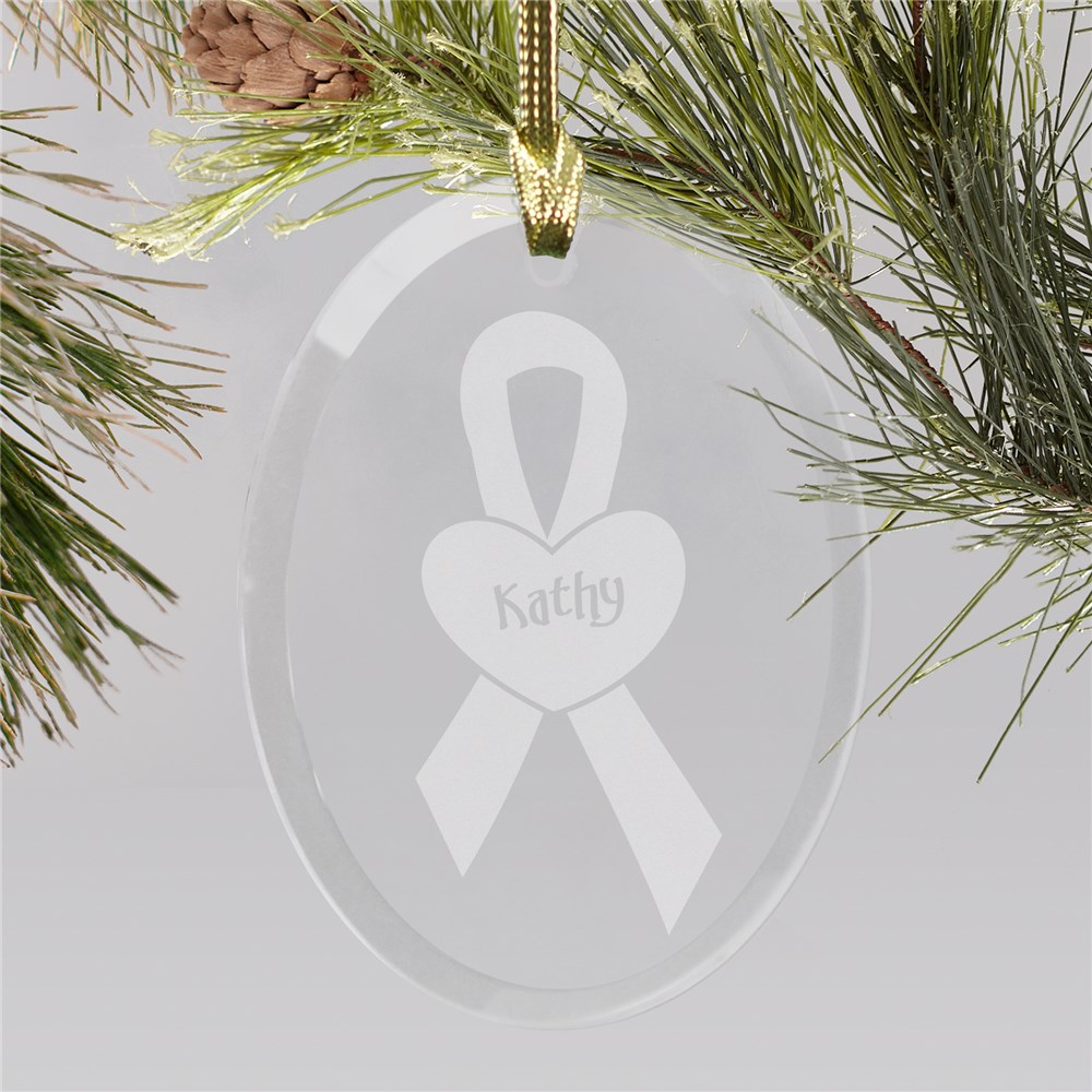 Glass Breast Cancer Awareness Ornament