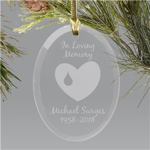Forever In Our Hearts Memorial Personalized Oval Glass Ornament | In Memory Of Ornaments