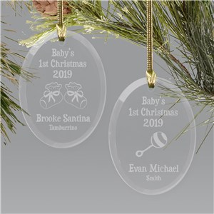 Baby's First Christmas Ornament | Glass Oval Ornament | Personalized Baby Ornaments