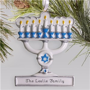 Menorah Personalized Christmas Ornament