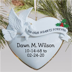 In Our Hearts Forever Memorial Ornament | Personalized Memorial Ornament