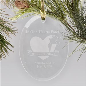 In Our Hearts Forever Oval Glass Personalized Memorial Ornament | Personalized Memorial Ornaments