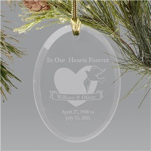 In Our Hearts Forever Oval Glass Personalized Memorial Ornament 820704