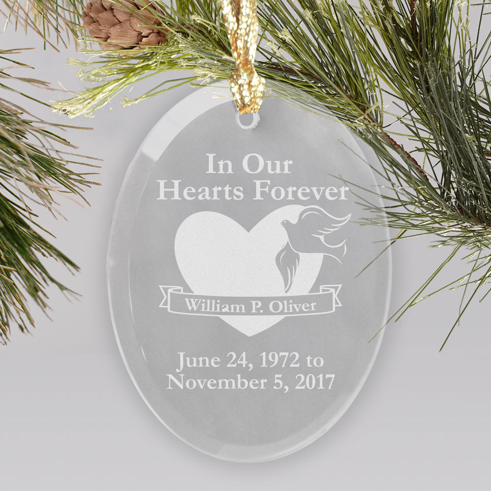 In Our Hearts Forever Memorial Personalized Oval Glass Ornament | Personalized Memorial Ornaments