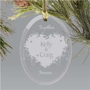 Together Forever Valentine Personalized Oval Glass Ornament | Personalized Couples Ornament