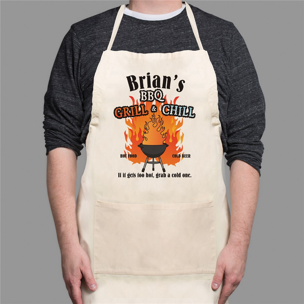 BBQ Grill & Chill Personalized Apron | Personalized Aprons