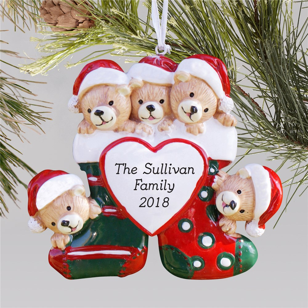 Personalized Teddy Bear Family Christmas Ornament | Personalized Christmas Ornaments