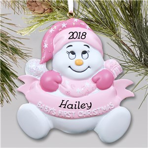 Baby Snowbaby Girl Personalized Christmas Ornament | Baby's First Christmas Ornaments