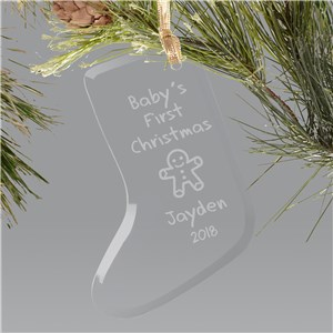 Baby's 1st Christmas Ornament - Glass Stocking | Baby's First Christmas Ornaments