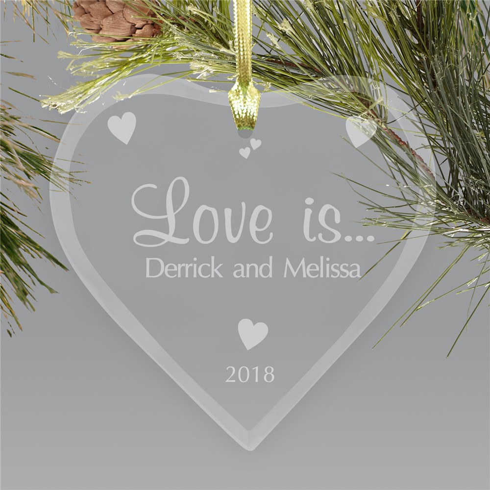 Couples Heart Glass Ornament | Personalized Glass Heart Ornament | Valentine Keepsake Gifts