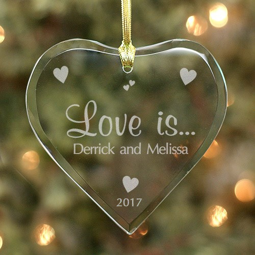 Love Is... Personalized Glass Heart Ornament | Valentine Keepsake Gifts