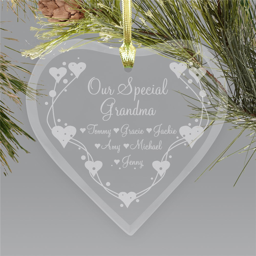Personalized Grandma Heart Glass Ornament | Personalized Gifts For Grandma