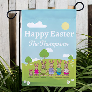 Personalized Bunny Family Garden Flag | Personalized Easter Gifts For Adults
