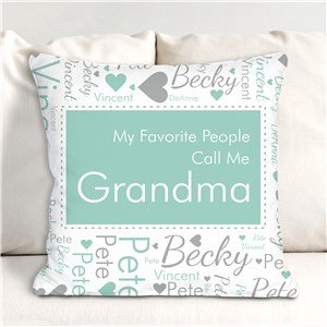 Personalized Favorite People Call Me Word-Art Throw Pillow | Mother's Day Personalized Gifts for Grandma