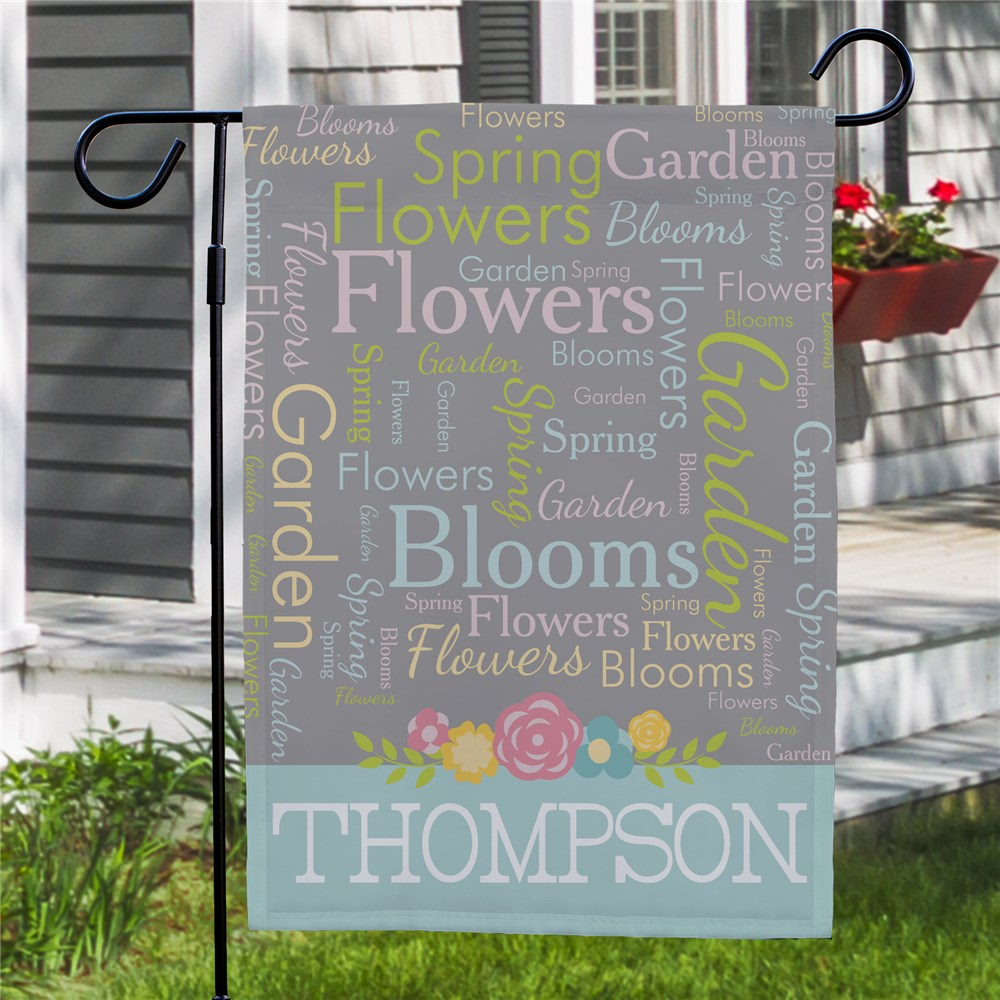 Spring Family Word-Art Garden Flag |Personalized Spring Garden Flags