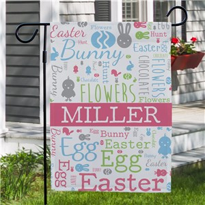 Personalized Spring Garden Flags |Easter Word Art Garden Flag