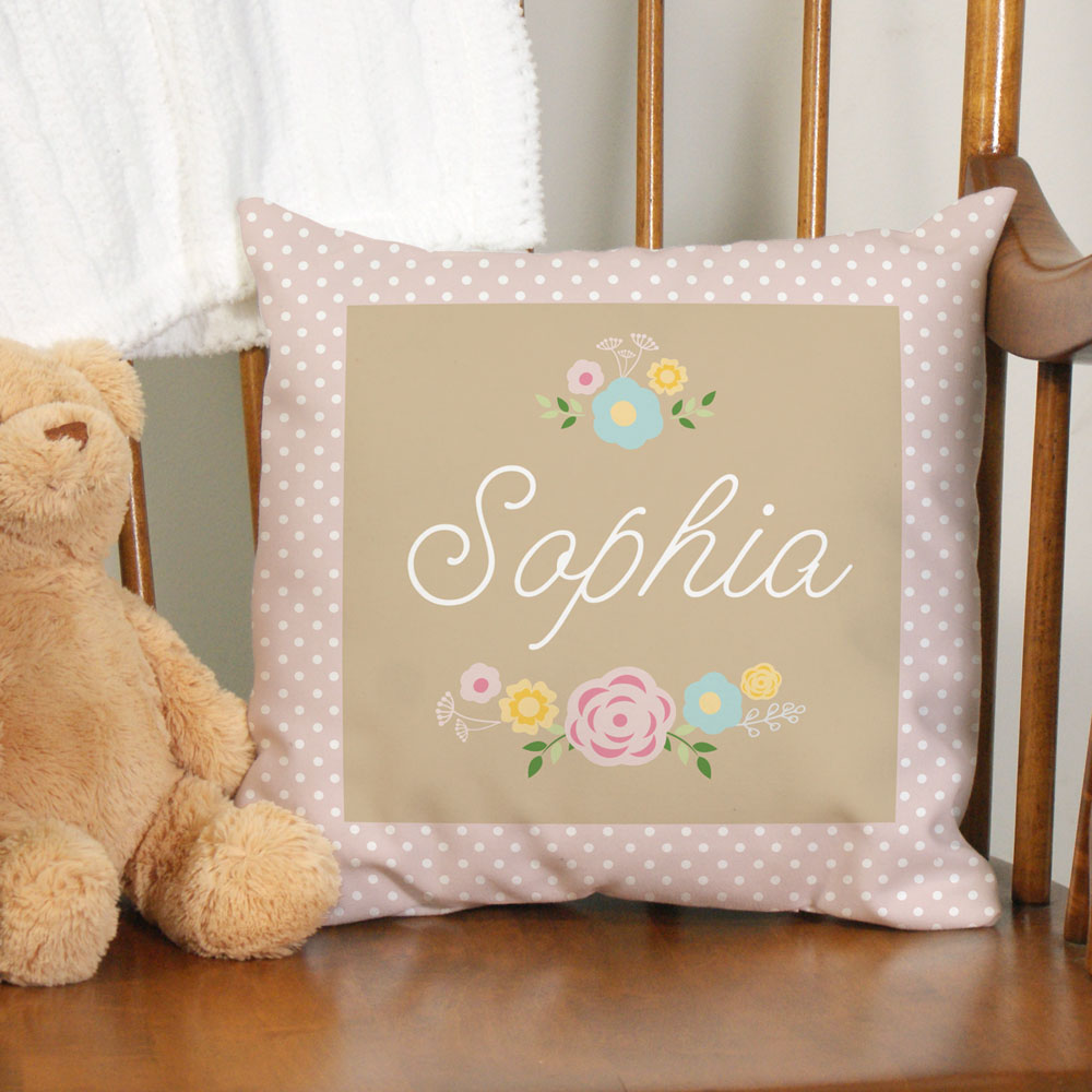Personalized Baby Floral Throw Pillow | Personalized Baby Gifts
