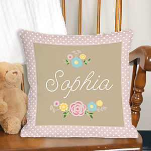 Personalized Baby Floral Throw Pillow 830101463X