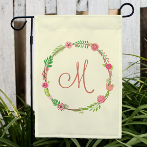 Personalized Single Initial Floral Garden Flag | Spring Garden Flags
