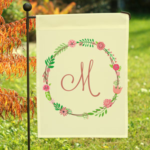 Personalized Single Initial Floral Garden Flag