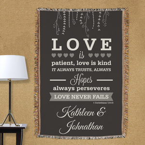 Personalized Love is Patient Wedding Afghan 830104355