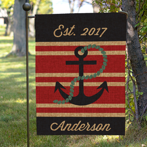 Personalized Nautical Burlap Garden Flag