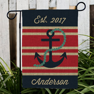 Personalized Nautical Burlap Garden Flag 830104682BX