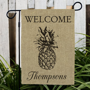 Personalized Pineapple Burlap Garden Flag | Personalized Housewarming Gifts