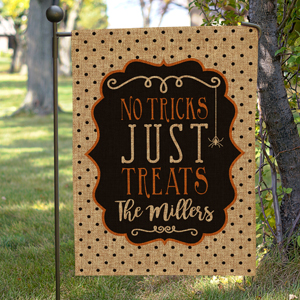 Personalized Family Trick or Treat Burlap Flag