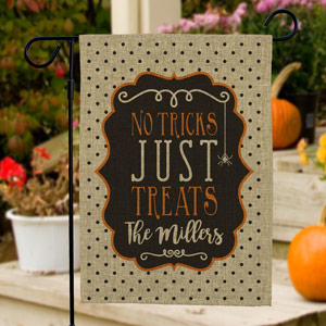 Personalized Family Trick or Treat Burlap Flag 830106062BX