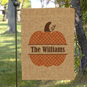 Personalized Family Name Pumpkin Burlap Garden Flag 830106072BX