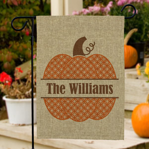 Personalized Family Name Pumpkin Burlap Garden Flag | Halloween Gifts
