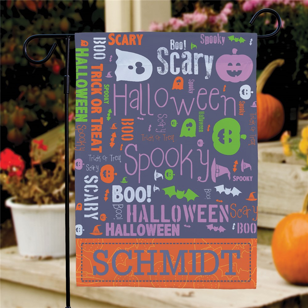 Halloween Word Art Family Garden Flag | Personalized Decor For Halloween
