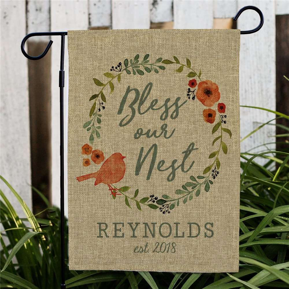 Bless Our Nest Personalized Burlap Garden Flag | Personalized Housewarming Gifts