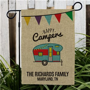 Personalized Happy Camper Burlap Garden Flag | Personalized Housewarming Gifts