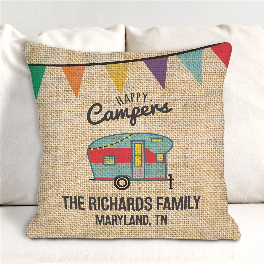 Vintage Camper Throw Pillow | Happy Camper Decorations