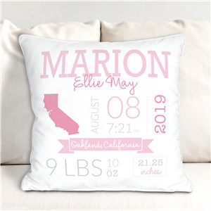Personalized Baby State Throw Pillow | Unique Baby Shower Gift
