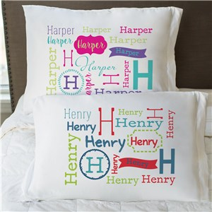 Personalized Repeating Name Pillowcase | Personalized Kids Pillowcases
