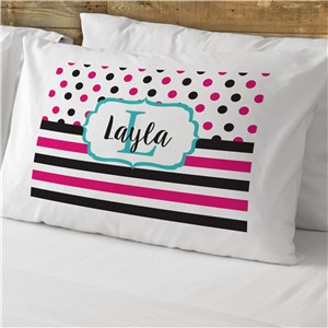 Personalized Polka Dot Stripe Pillowcase | Personalized Pillowcase For Kids