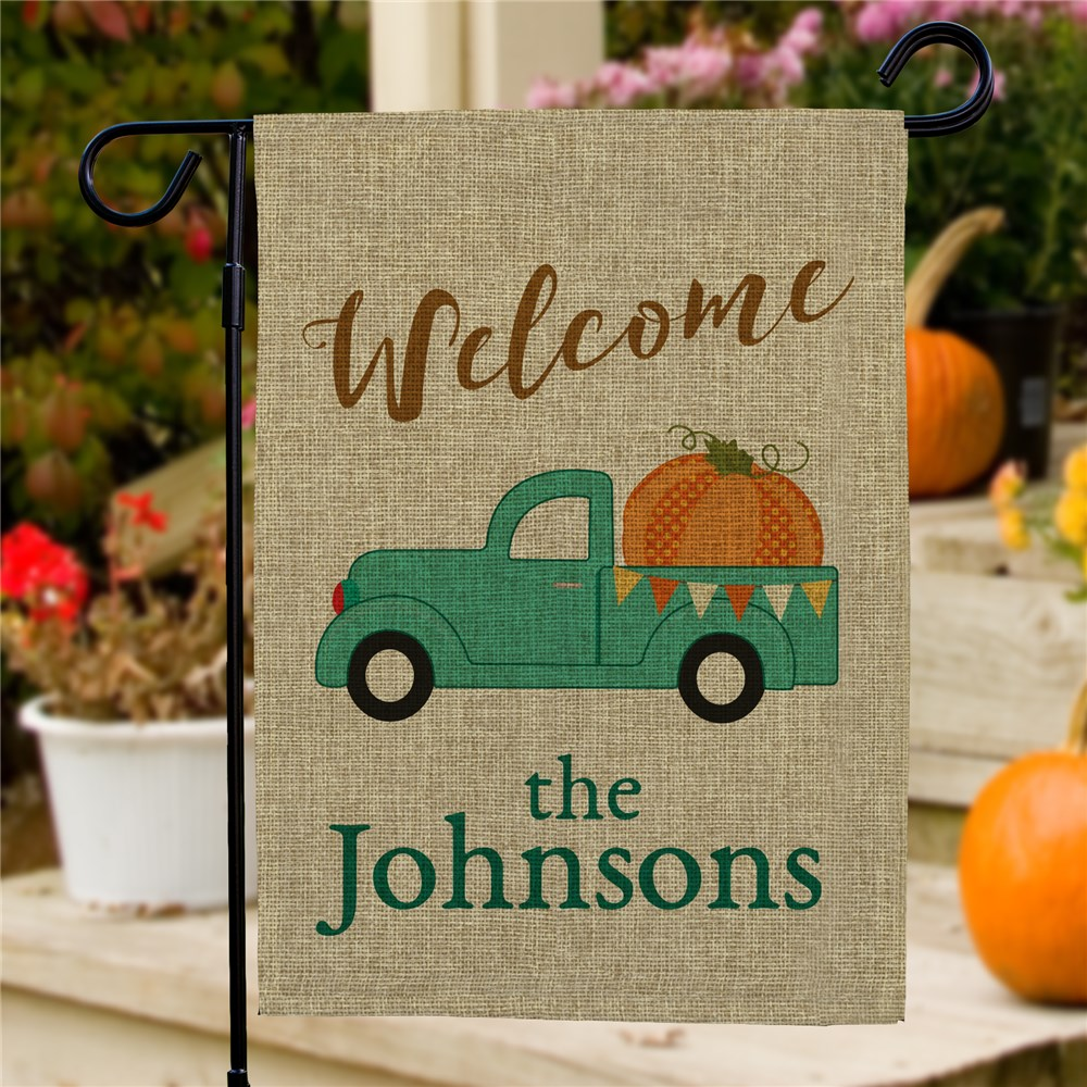 Personalized Welcome Fall Truck Burlap Garden Flag | Personalized Garden Flags