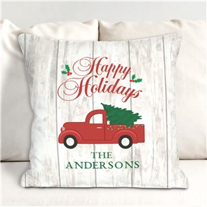Personalized Happy Holidays Throw Pillow 830120423X