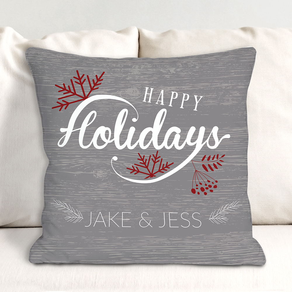 Personalized Happy Holiday Couples Throw Pillow | Personalized Christmas Throw Pillows