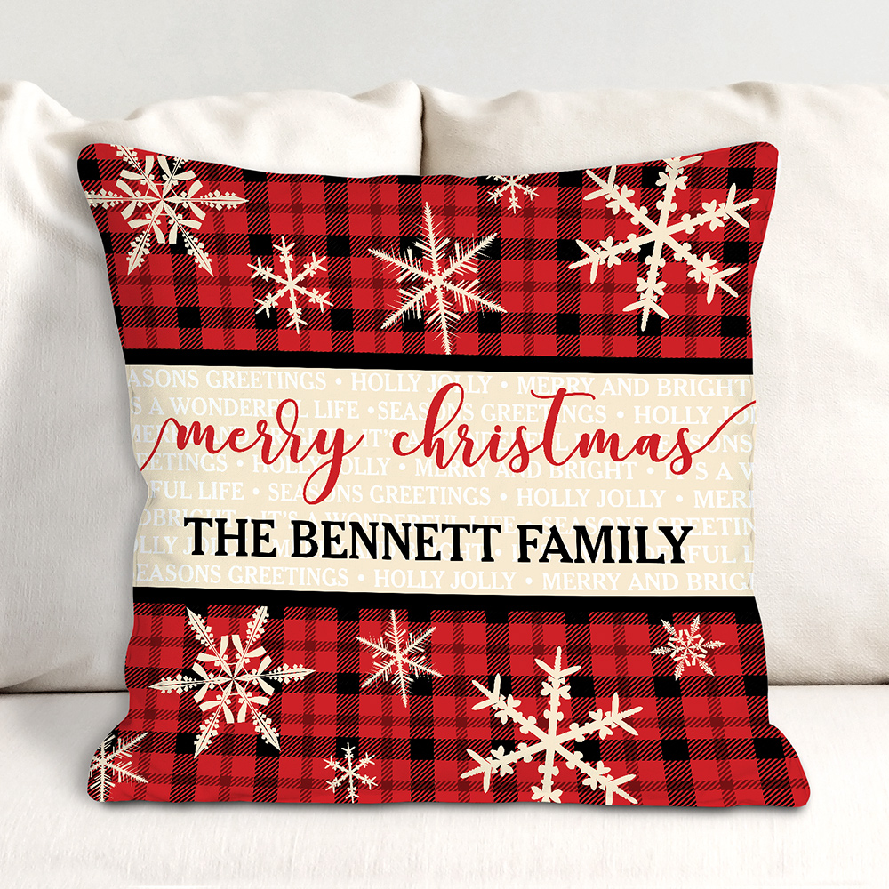 Personalized Merry Christmas Plaid Throw Pillow | Personalized Throw Pillows