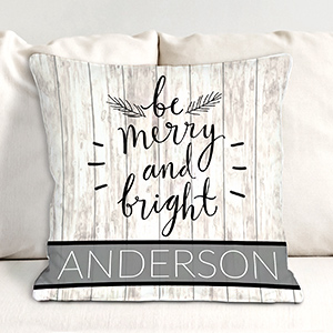 Personalized Merry and Bright Throw Pillow | Personalized Christmas Throw Pillows