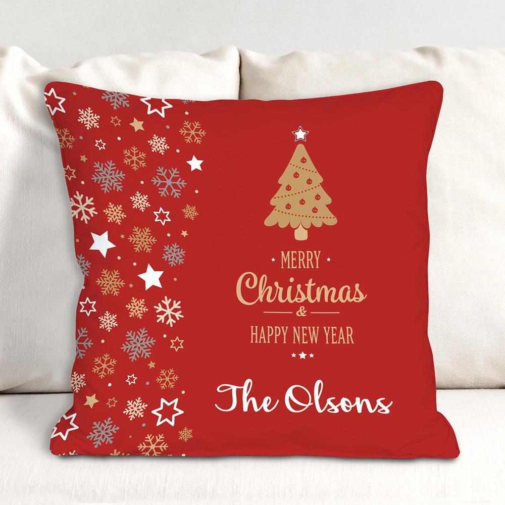 Personalized Merry New Year Throw Pillow | Personalized Christmas Decorations